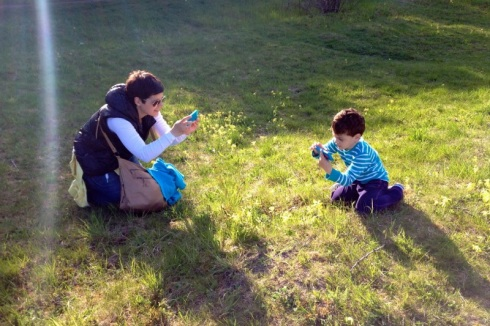 Kea and Andi photographing the blooming Common Cowslip by their iPhones. © Gyorgy Szimuly